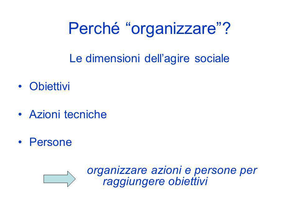 Perché organizzare Le dimensioni dell'agire sociale Obiettivi
