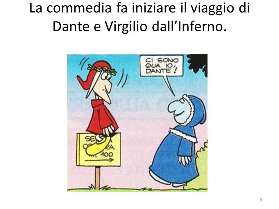 La commedia fa iniziare il viaggio di Dante e Virgilio dall'Inferno.