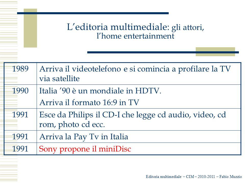 L'editoria multimediale: gli attori, l'home entertainment