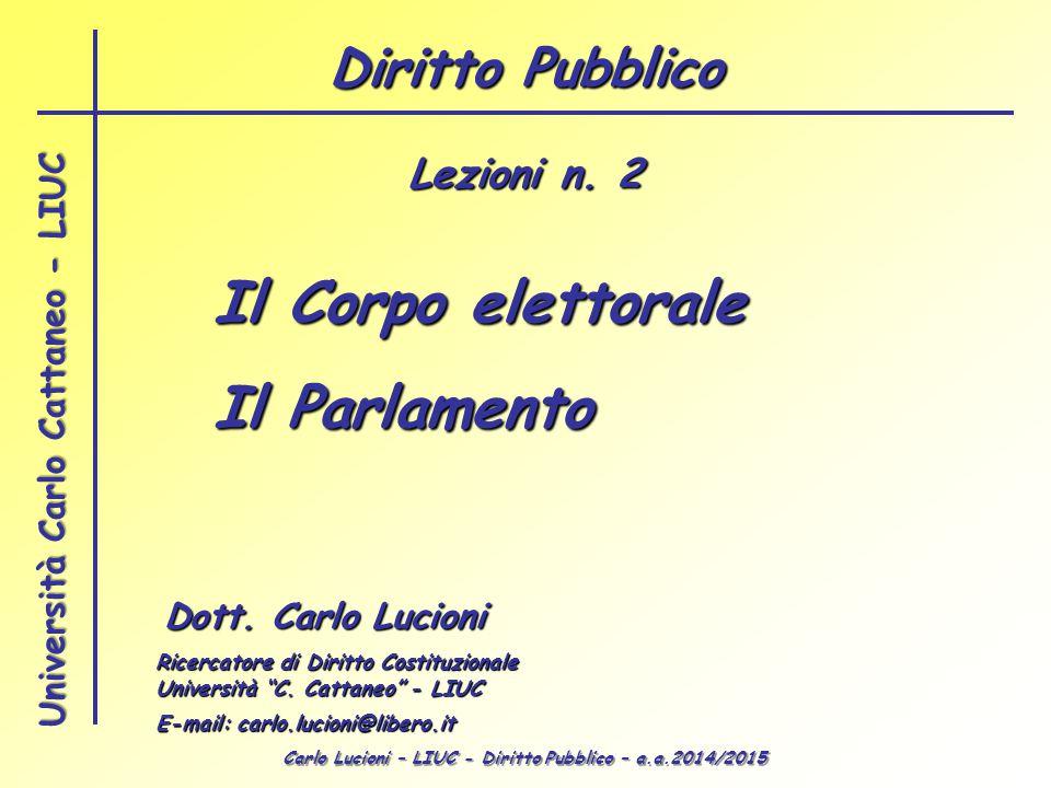 Il Corpo elettorale Il Parlamento Diritto Pubblico Lezioni n. 2