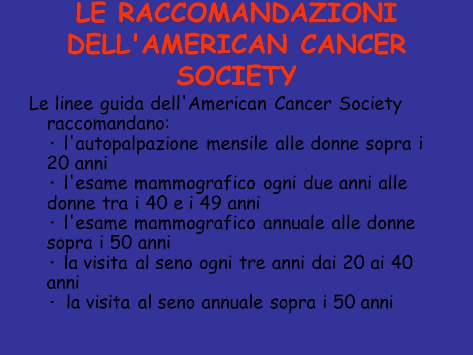 LE RACCOMANDAZIONI DELL AMERICAN CANCER SOCIETY