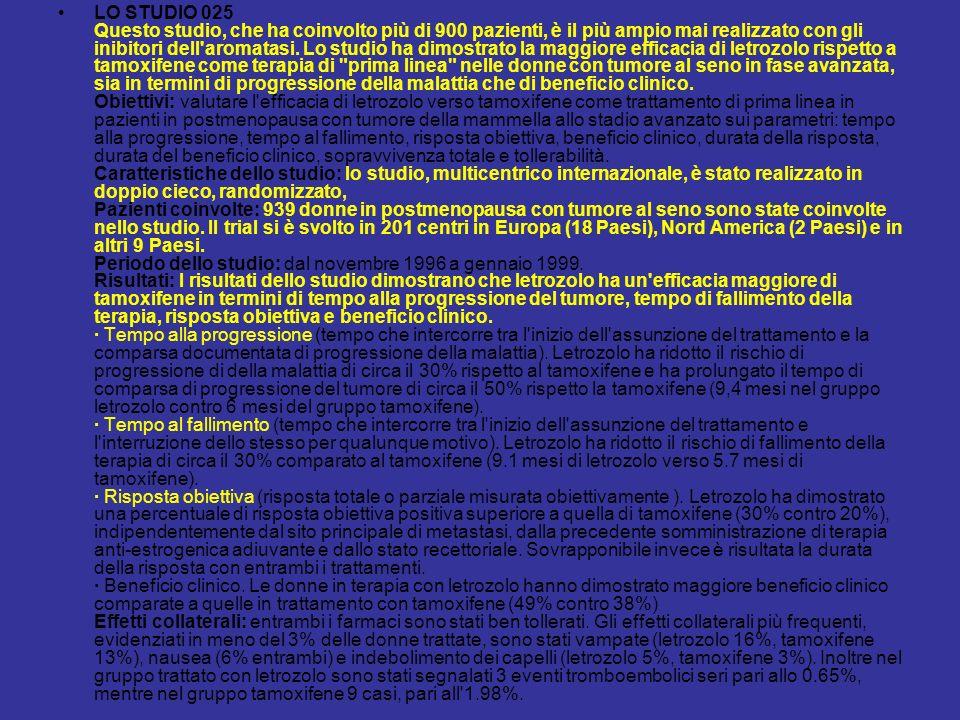 LO STUDIO 025 Questo studio, che ha coinvolto più di 900 pazienti, è il più ampio mai realizzato con gli inibitori dell aromatasi.