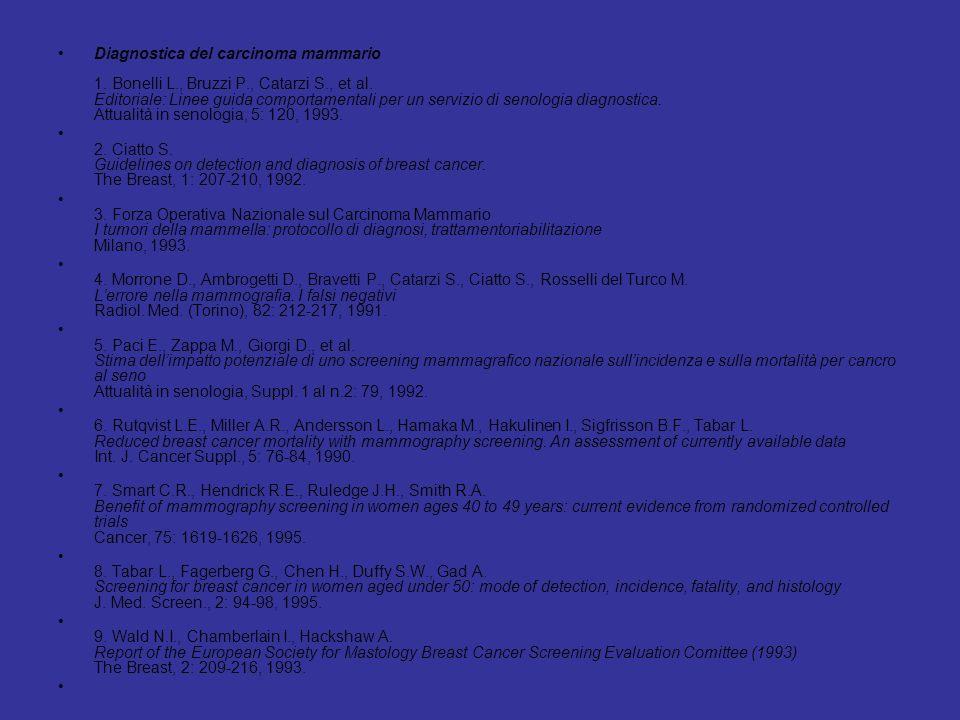 Diagnostica del carcinoma mammario 1. Bonelli L. , Bruzzi P