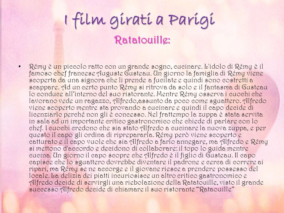 I film girati a Parigi Ratatouille: