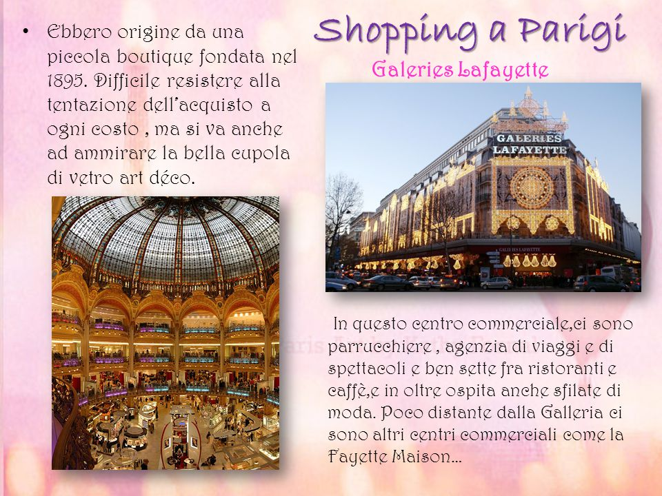 Shopping a Parigi Galeries Lafayette