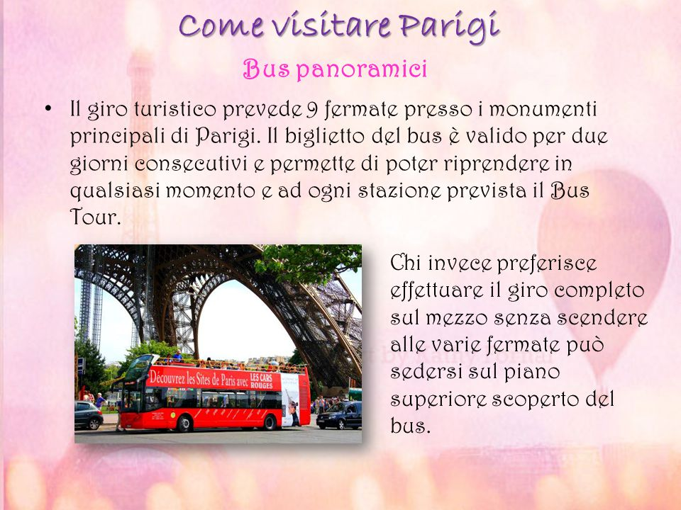 Come visitare Parigi Bus panoramici
