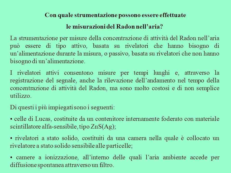 le misurazioni del Radon nell'aria