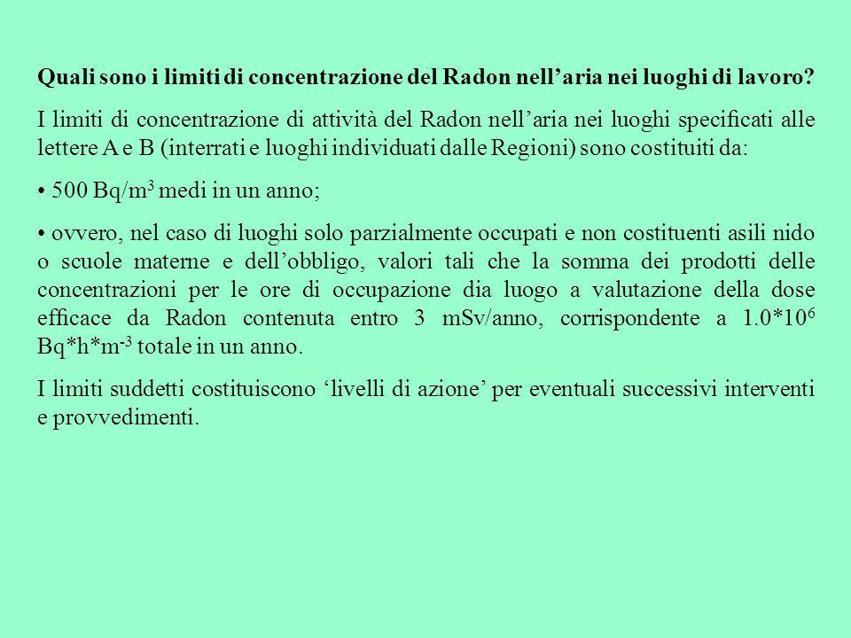 Quali sono i limiti di concentrazione del Radon nell'aria nei luoghi di lavoro