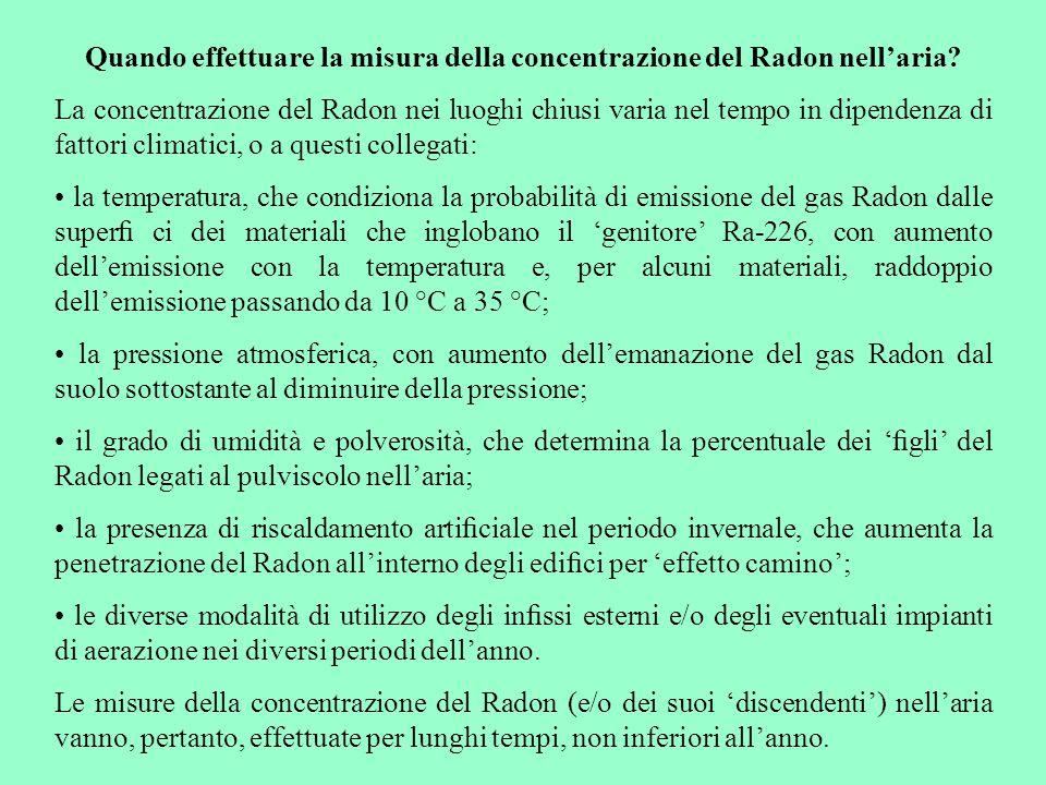 Quando effettuare la misura della concentrazione del Radon nell'aria