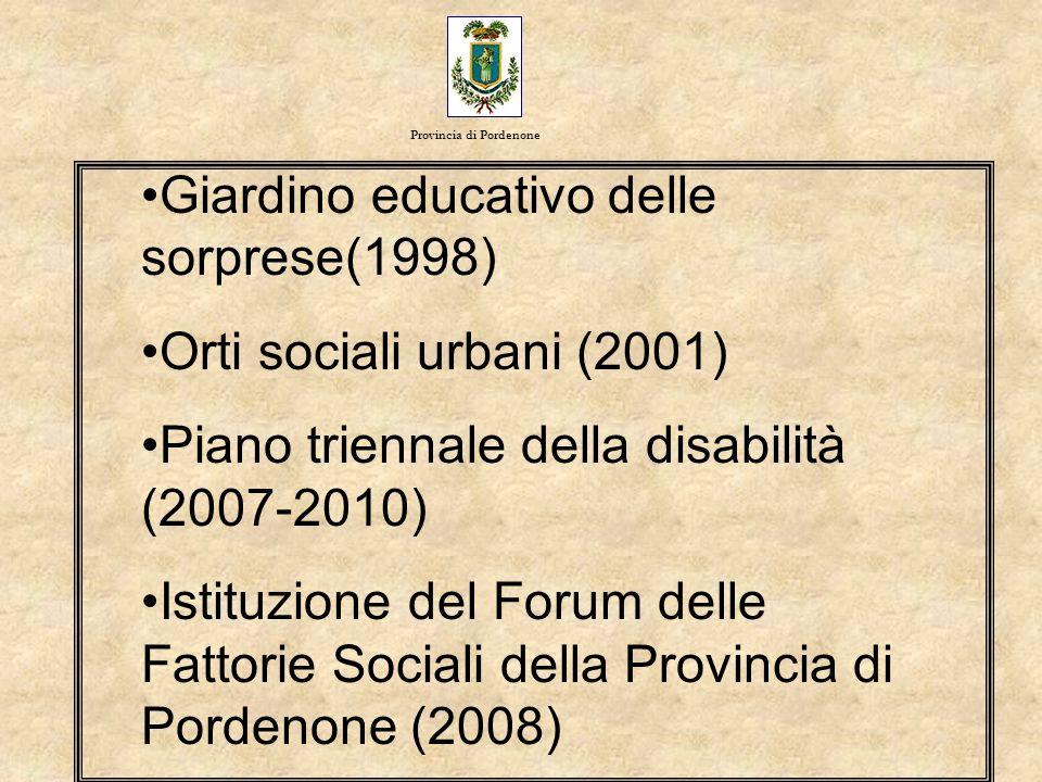 Giardino educativo delle sorprese(1998) Orti sociali urbani (2001)