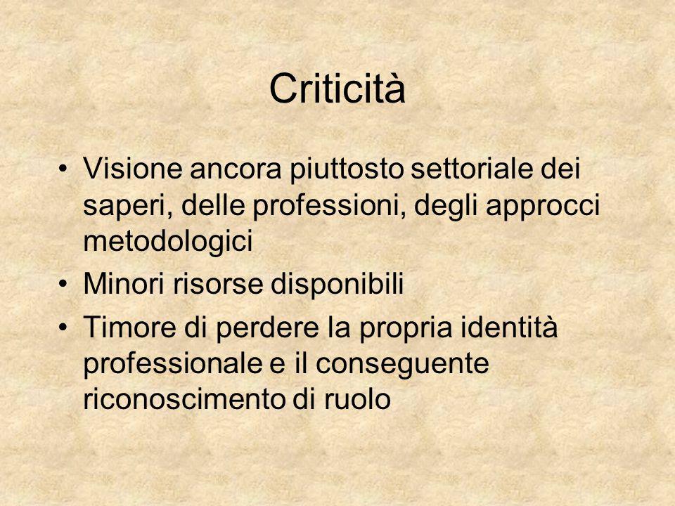 Criticità Visione ancora piuttosto settoriale dei saperi, delle professioni, degli approcci metodologici.
