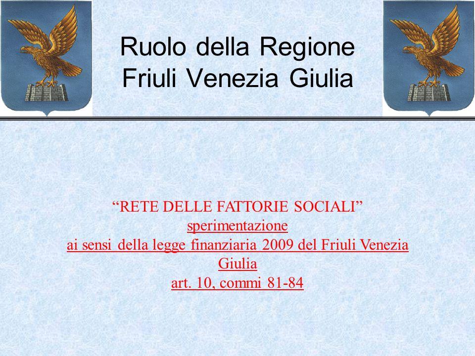 Ruolo della Regione Friuli Venezia Giulia