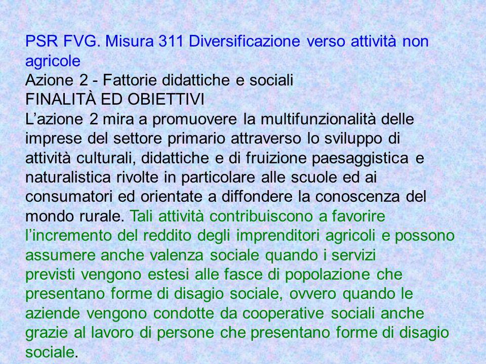 PSR FVG. Misura 311 Diversificazione verso attività non agricole