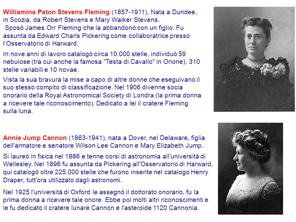 Williamina Paton Stevens Fleming (1857-1911), Nata a Dundee, in Scozia, da Robert Stevens e Mary Walker Stevens.
