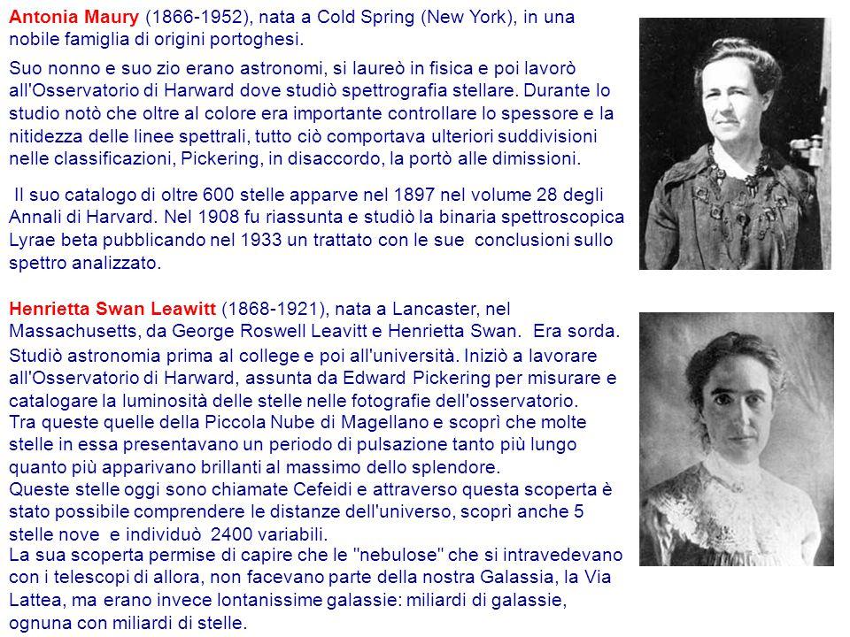 Antonia Maury (1866-1952), nata a Cold Spring (New York), in una nobile famiglia di origini portoghesi.