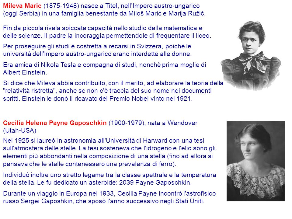 Mileva Maric (1875-1948) nasce a Titel, nell'Impero austro-ungarico (oggi Serbia) in una famiglia benestante da Miloš Marić e Marija Ružić.