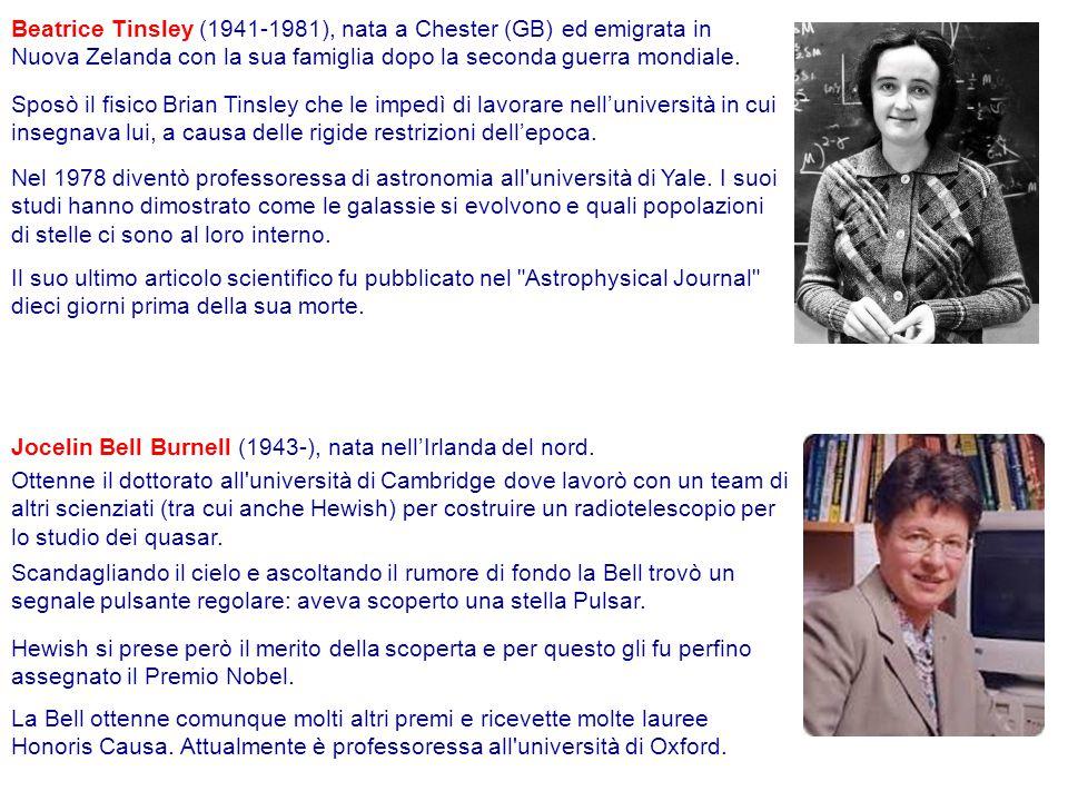 Beatrice Tinsley (1941-1981), nata a Chester (GB) ed emigrata in Nuova Zelanda con la sua famiglia dopo la seconda guerra mondiale.