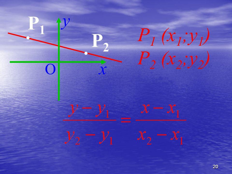 y P1 . P1 (x1;y1) P2 (x2;y2) . P2 x O