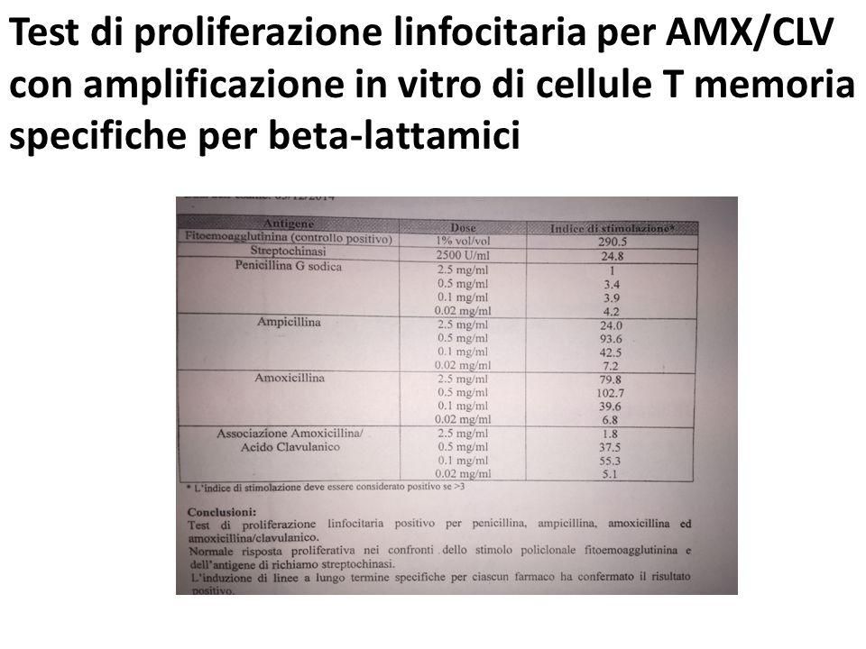 Test di proliferazione linfocitaria per AMX/CLV con amplificazione in vitro di cellule T memoria specifiche per beta-lattamici