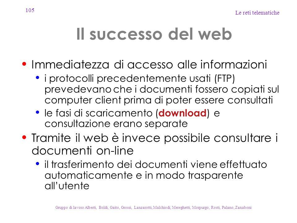 Il successo del web Immediatezza di accesso alle informazioni