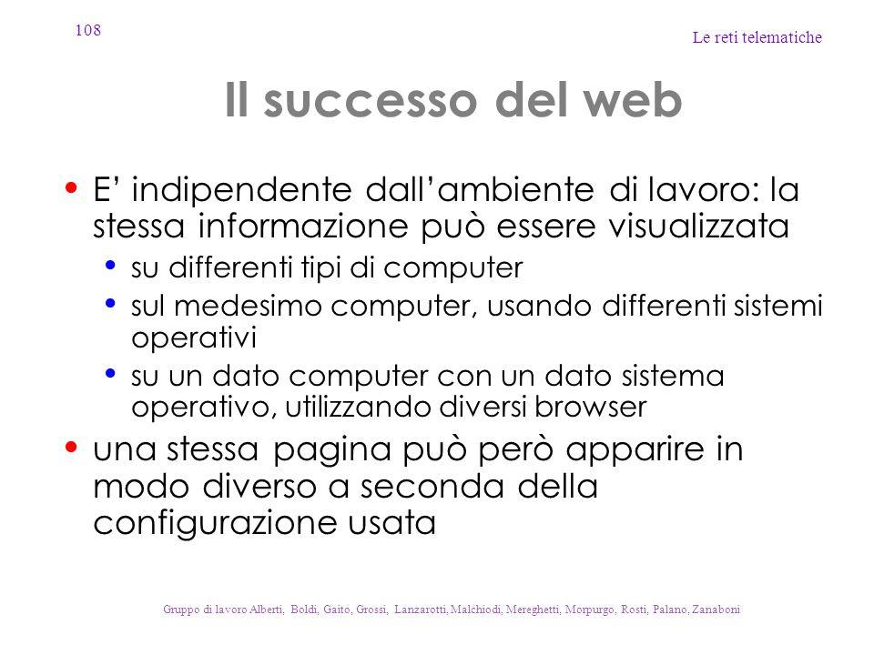 Il successo del web E' indipendente dall'ambiente di lavoro: la stessa informazione può essere visualizzata.