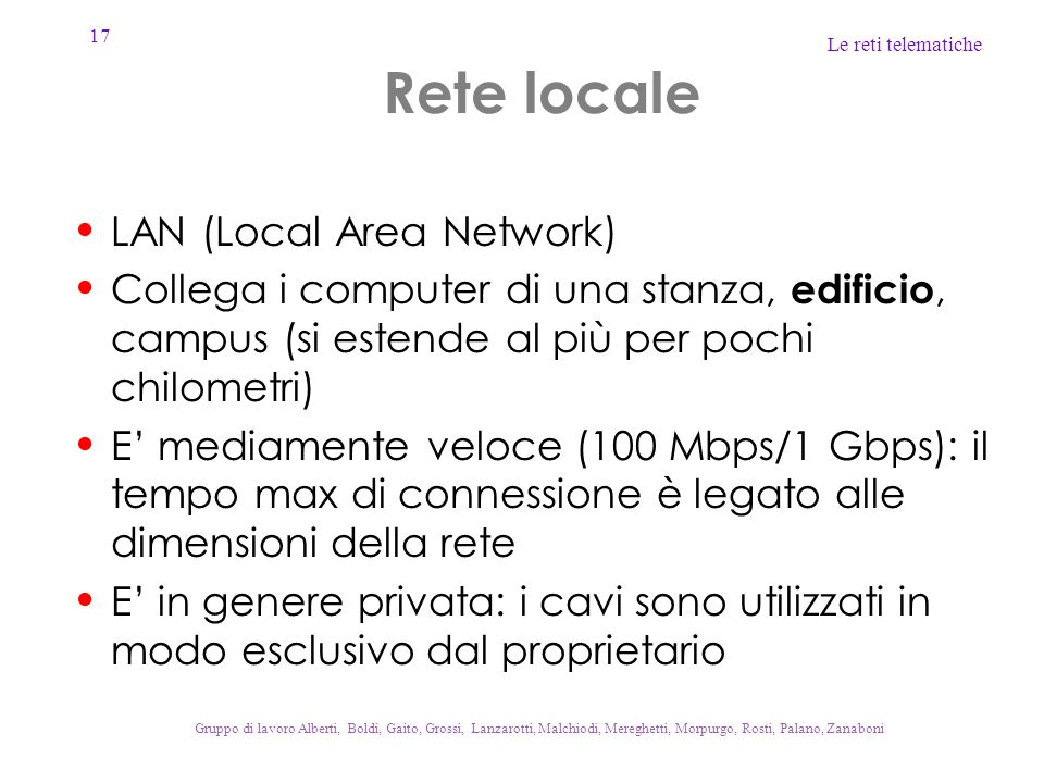 Rete locale LAN (Local Area Network)