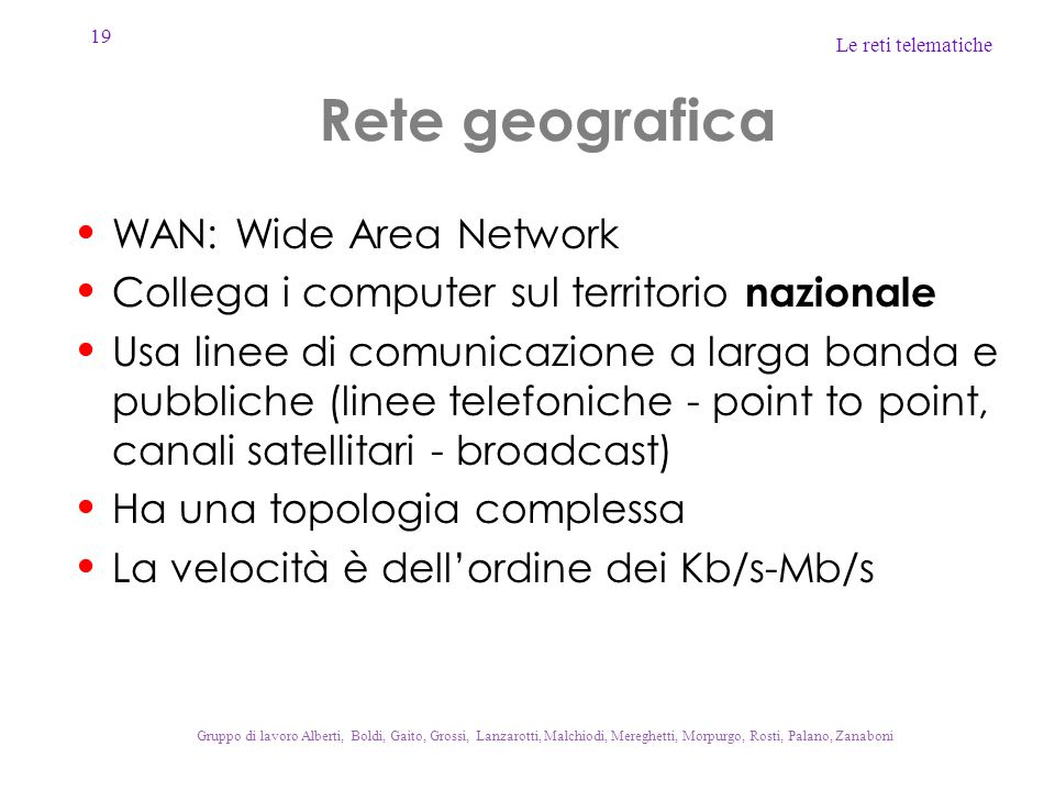 Rete geografica WAN: Wide Area Network