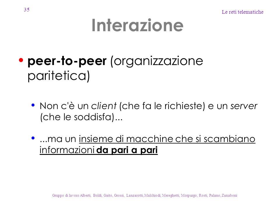 Interazione peer-to-peer (organizzazione paritetica)