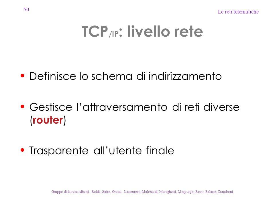 TCP/IP: livello rete Definisce lo schema di indirizzamento