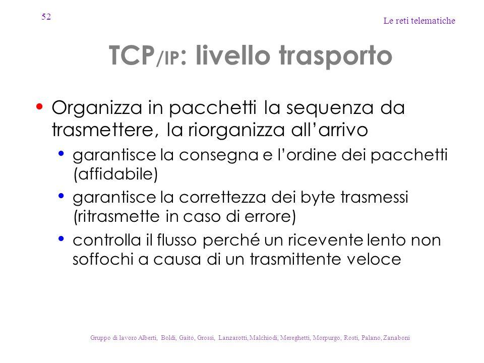 TCP/IP: livello trasporto