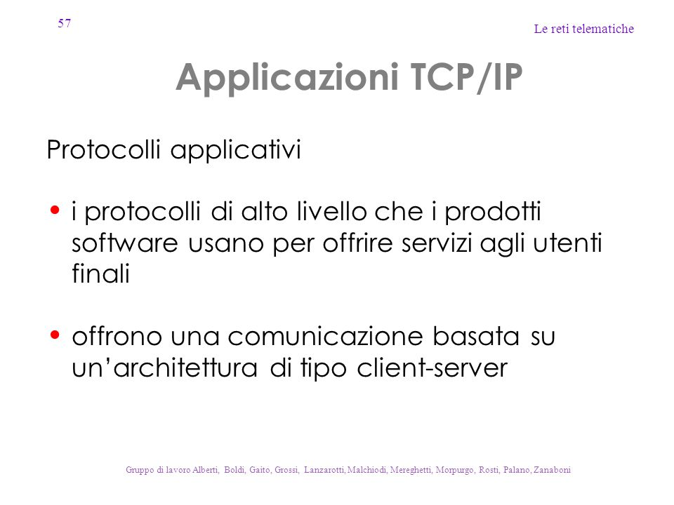 Applicazioni TCP/IP Protocolli applicativi