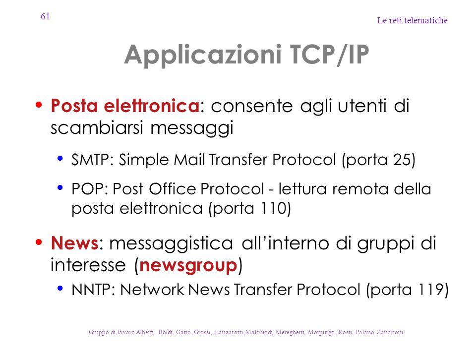 Applicazioni TCP/IP Posta elettronica: consente agli utenti di scambiarsi messaggi. SMTP: Simple Mail Transfer Protocol (porta 25)