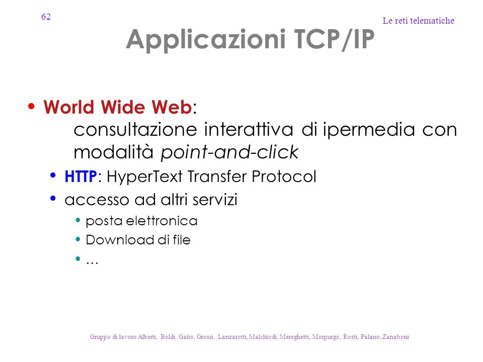 Applicazioni TCP/IP World Wide Web: consultazione interattiva di ipermedia con modalità point-and-click.