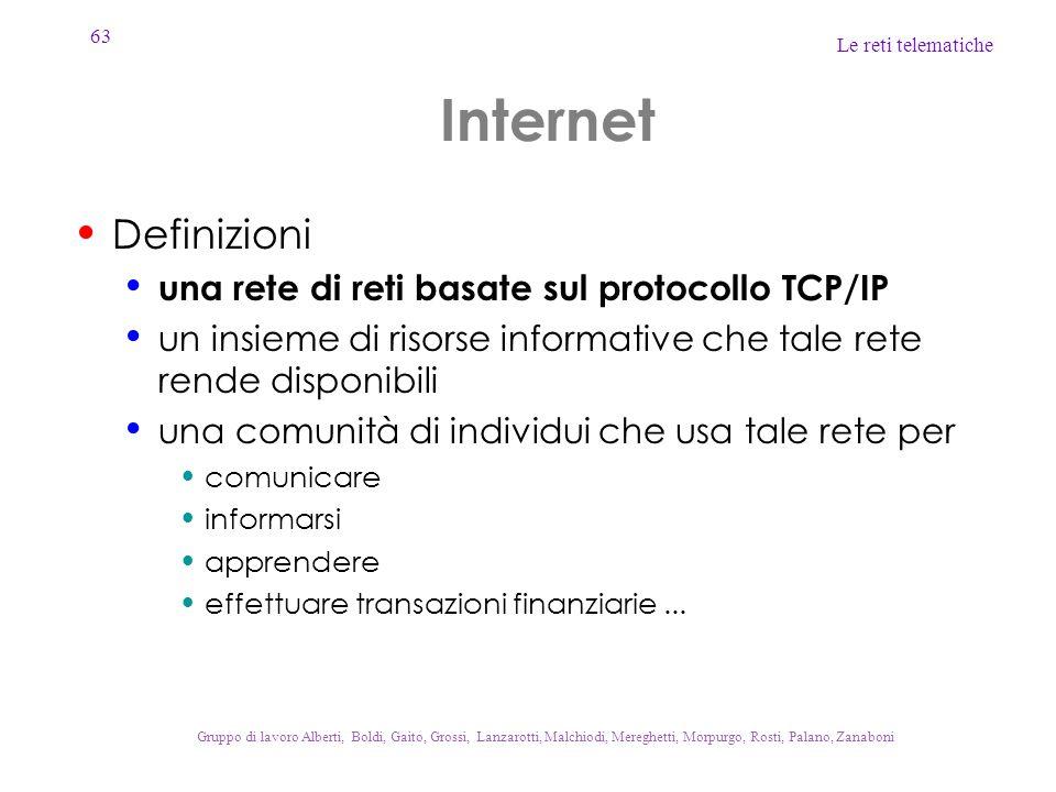 Internet Definizioni una rete di reti basate sul protocollo TCP/IP