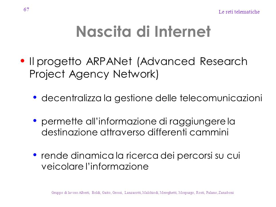 Nascita di Internet Il progetto ARPANet (Advanced Research Project Agency Network) decentralizza la gestione delle telecomunicazioni.