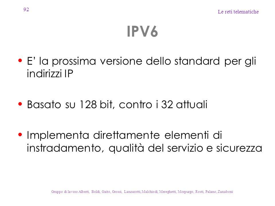 IPV6 E' la prossima versione dello standard per gli indirizzi IP