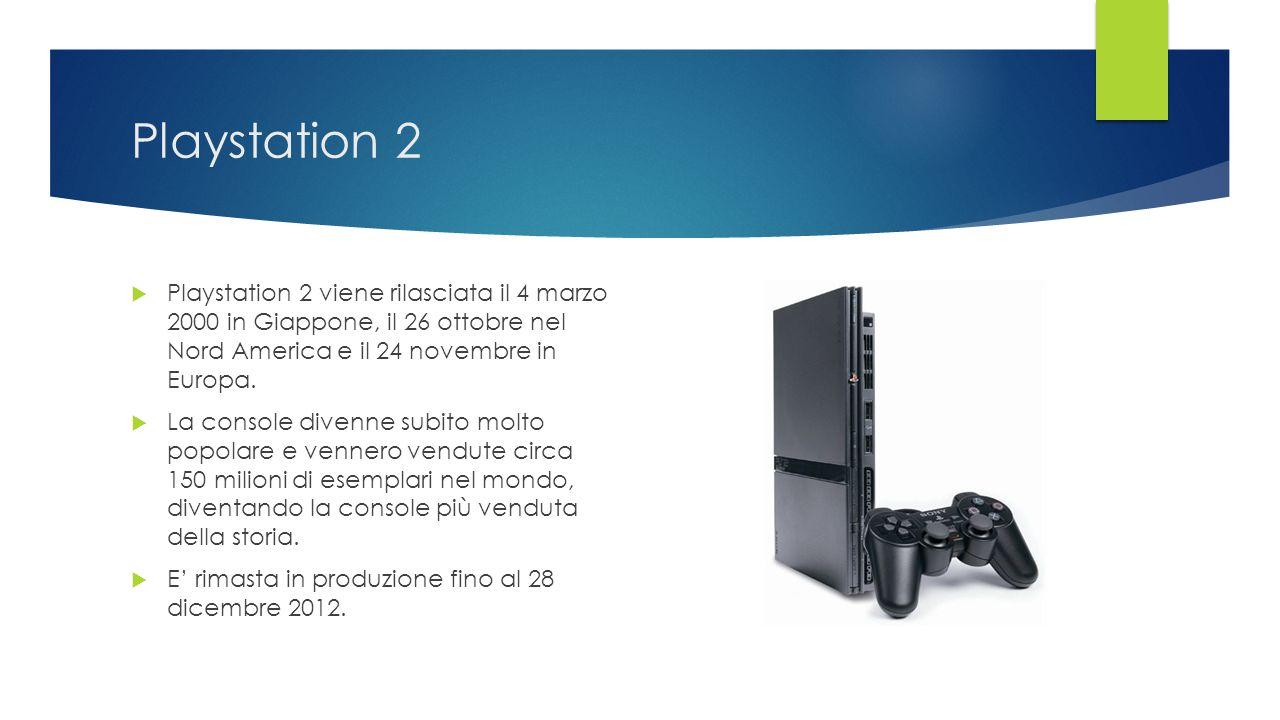 Playstation 2 Playstation 2 viene rilasciata il 4 marzo 2000 in Giappone, il 26 ottobre nel Nord America e il 24 novembre in Europa.