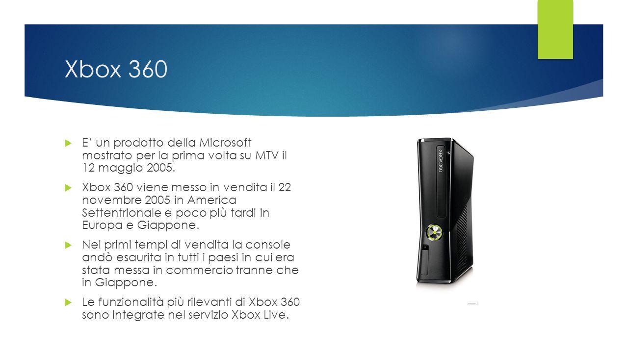 Xbox 360 E' un prodotto della Microsoft mostrato per la prima volta su MTV il 12 maggio 2005.
