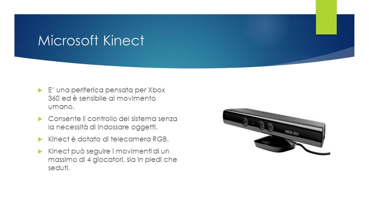 Microsoft Kinect E' una periferica pensata per Xbox 360 ed è sensibile al movimento umano.