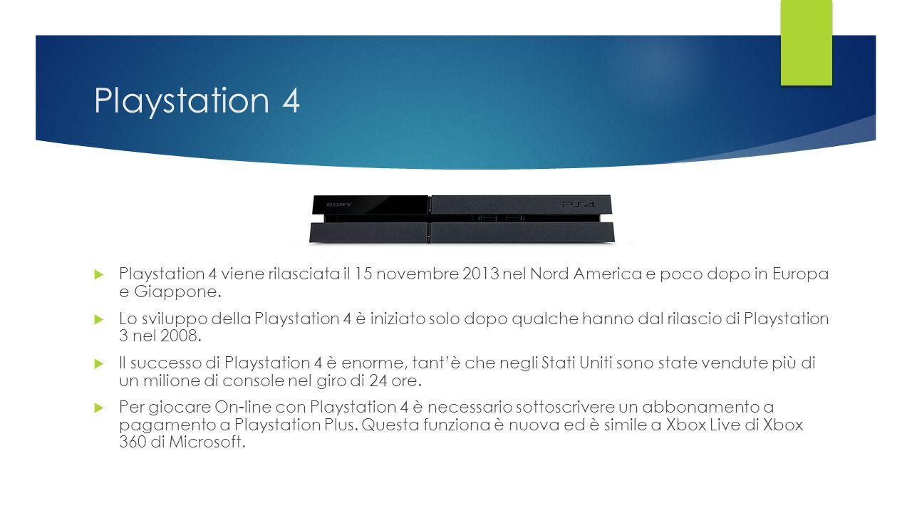 Playstation 4 Playstation 4 viene rilasciata il 15 novembre 2013 nel Nord America e poco dopo in Europa e Giappone.