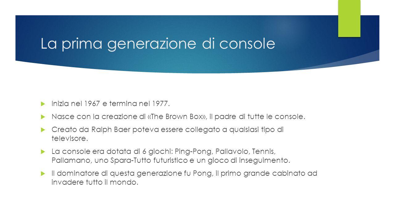 La prima generazione di console