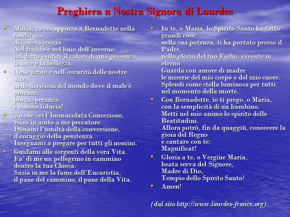 Preghiera a Nostra Signora di Lourdes