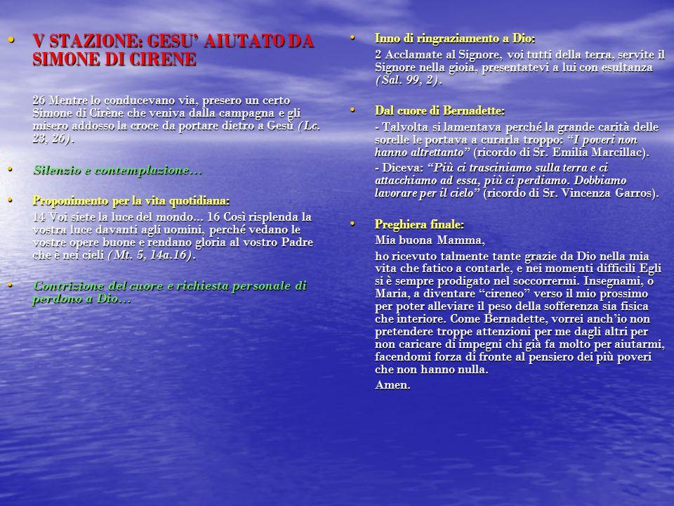 V STAZIONE: GESU' AIUTATO DA SIMONE DI CIRENE