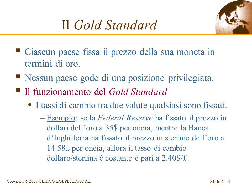 Il Gold Standard Ciascun paese fissa il prezzo della sua moneta in termini di oro. Nessun paese gode di una posizione privilegiata.