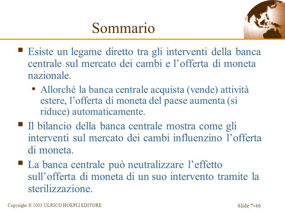 SommarioEsiste un legame diretto tra gli interventi della banca centrale sul mercato dei cambi e l'offerta di moneta nazionale.
