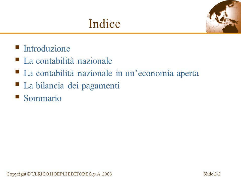 Indice Introduzione La contabilità nazionale