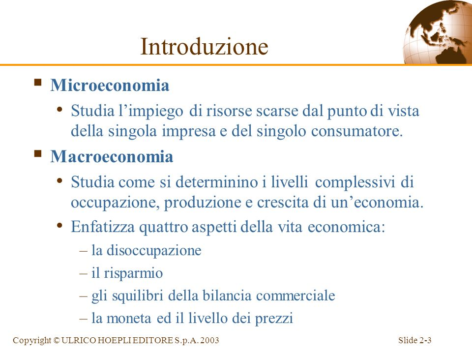 Introduzione Microeconomia Macroeconomia