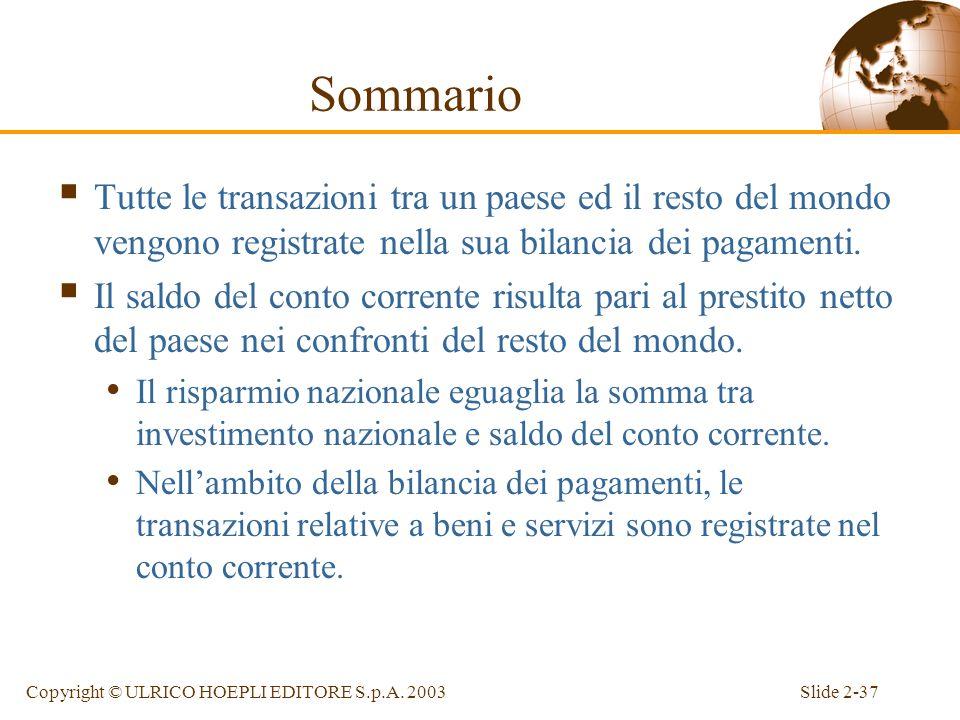 Sommario Tutte le transazioni tra un paese ed il resto del mondo vengono registrate nella sua bilancia dei pagamenti.