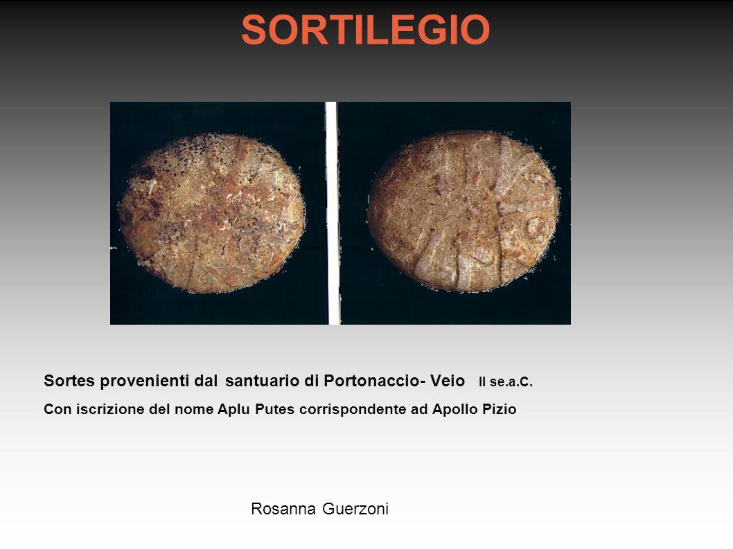 SORTILEGIO Sortes provenienti dal santuario di Portonaccio- Veio II se.a.C. Con iscrizione del nome Aplu Putes corrispondente ad Apollo Pizio.