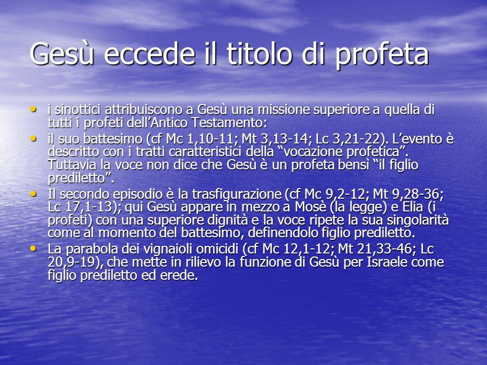 Gesù eccede il titolo di profeta